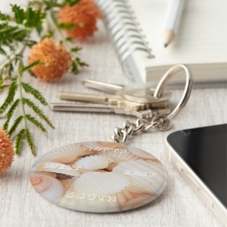 North East South West Compass Sea Shells Exotic Keychain