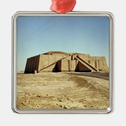 North-eastern facade of the ziggurat, c.2100 BC Square Metal Christmas Ornament