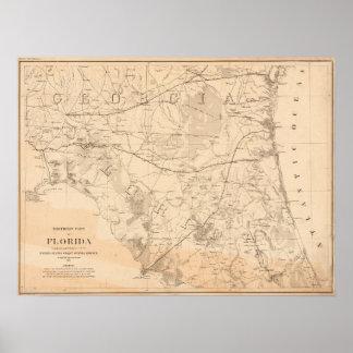 North Florida Vintage Map Poster
