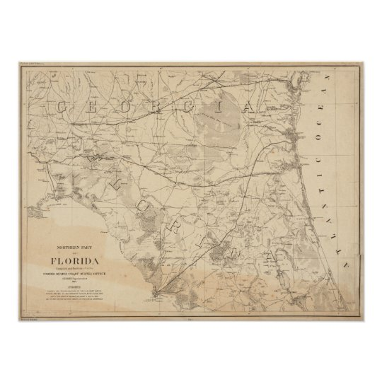 Antique Map Of Florida.North Florida Vintage Map Poster Zazzle Com