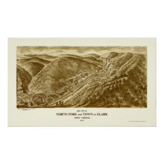 North Fork and Clark, WV Panoramic Map - 1911 Poster
