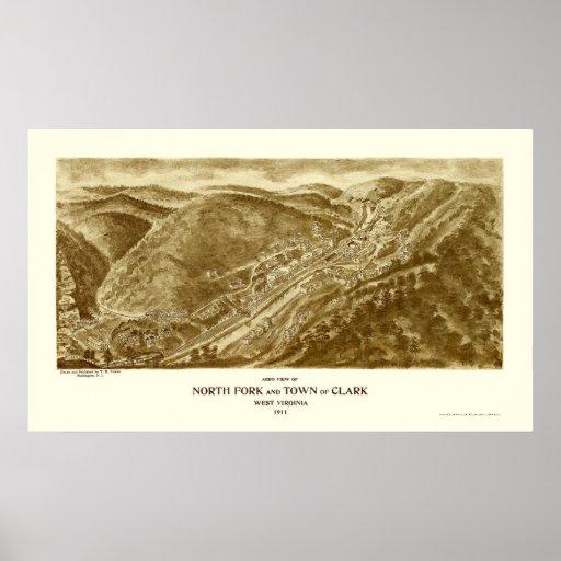 North Fork y Clark, mapa panorámico de WV - 1911 Póster