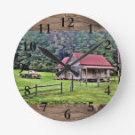 North Georgia Farm House Home Decor Round Clock