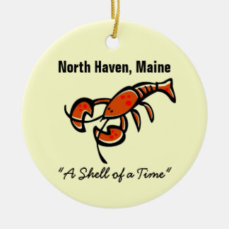 North Haven, Maine Lobster Double-Sided Ceramic Round Christmas Ornament
