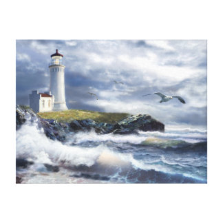 North Head lighthouse at the eve of a storm Canvas Print