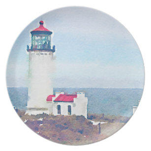 North Head Lighthouse Ilwaco WA Watercolor Print Dinner Plate  sc 1 st  Zazzle & Pacific Ocean Lighthouse Plates | Zazzle