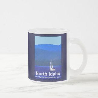 North Idaho Blue Frosted Glass Coffee Mug