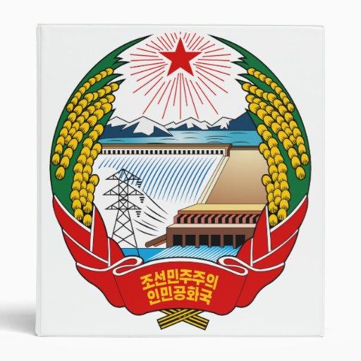 North Korea Coat Of Arms 3 Ring Binders
