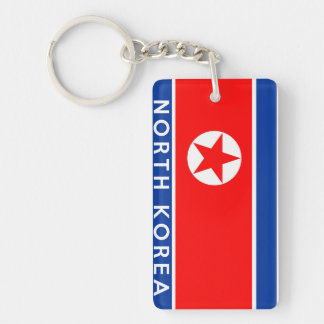 north korea country flag symbol name text Single-Sided rectangular acrylic keychain