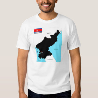 north korea country political black map flag T-Shirt