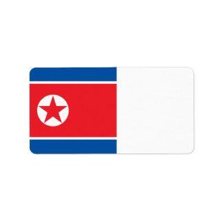 North Korea Flag Label