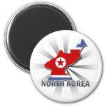 North Korea Flag Map 2.0 Fridge Magnets