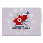 North Korea Flag Map 2.0 Greeting Card