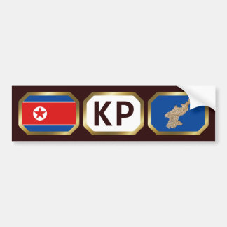 North Korea Flag Map Code Bumper Sticker