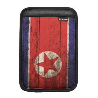 North Korea Flag on Old Wood Grain iPad Mini Sleeves