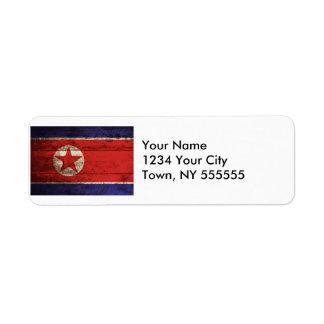 North Korea Flag on Old Wood Grain Label