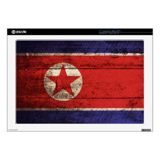 "North Korea Flag on Old Wood Grain Skins For 17"" Laptops"