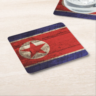 North Korea Flag on Old Wood Grain Square Paper Coaster