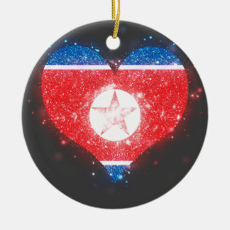 North Korea Flag Shining Unique Double-Sided Ceramic Round Christmas Ornament
