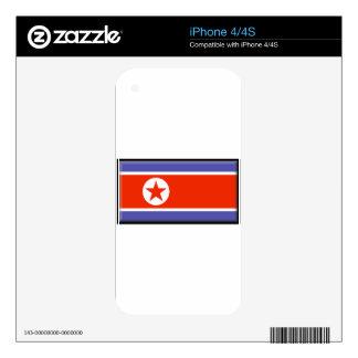 North Korea Flag Skin For iPhone 4