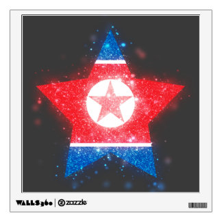 North Korea Flag Star Shining Room Decal