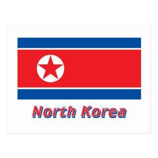 North Korea Flag with Name Postcard