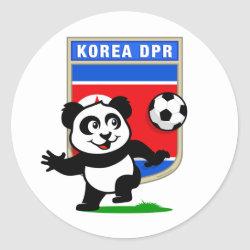 Round Sticker with North Korea Football Panda design