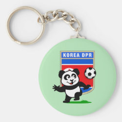 Basic Button Keychain with North Korea Football Panda design