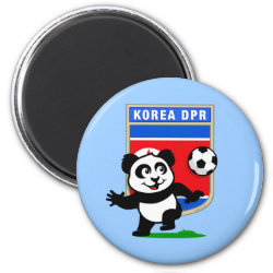 Round Magnet with North Korea Football Panda design