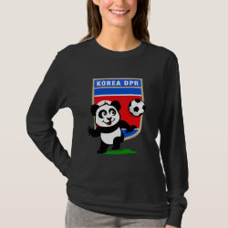 Women's Basic Long Sleeve T-Shirt with North Korea Football Panda design