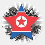 North Korea Star Round Sticker