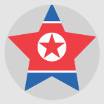 North+Korea Star Round Stickers