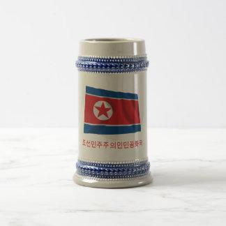 North Korea Waving Flag with Name in Korean Beer Stein
