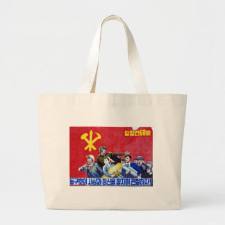 North Korean Communist Party Poster Large Tote Bag