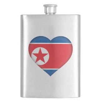 North Korean Flag Heart Flask
