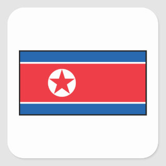 North Korean Flag Square Sticker