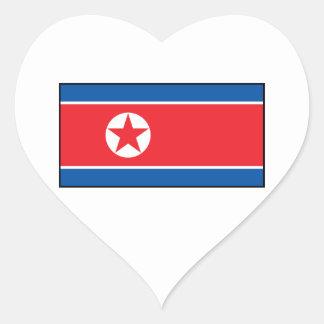 North Korean Flag Heart Stickers