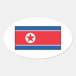 North Korean Flag Oval Sticker