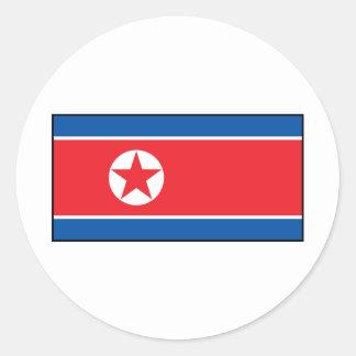North Korean Flag Round Sticker