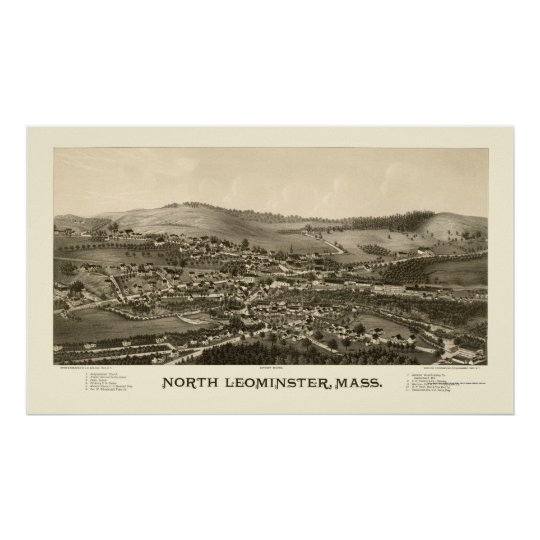 North Leominster, MA Panoramic Map - 1887 Poster