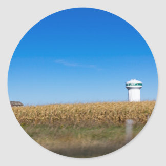 North Liberty Iowa USA Scenery with Water Tower Classic Round Sticker