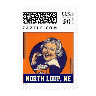 North Loup NE Nebraska popcorn girl vintage Stamps