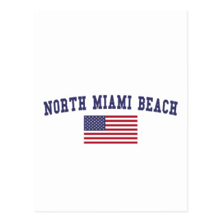 North Miami Beach US Flag Postcard