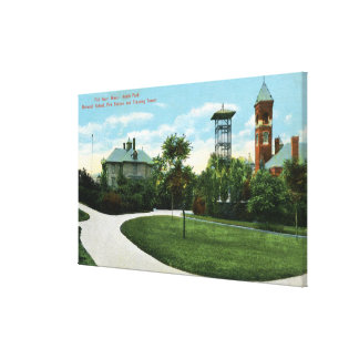 North Park View of Brownell School, Fire Canvas Print