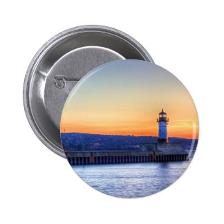 North Pier and Lighthouse 2 Inch Round Button