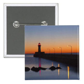 North pier Lighthouse in Duluth, Minnesota, 2 Inch Square Button
