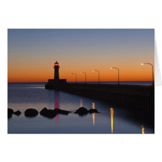 North pier Lighthouse in Duluth, Minnesota, Greeting Cards