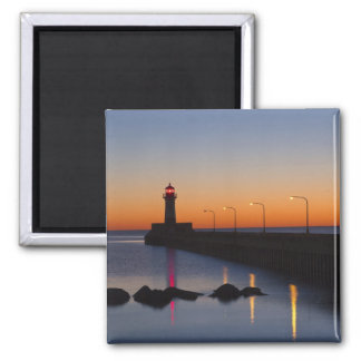 North pier Lighthouse in Duluth, Minnesota, 2 Inch Square Magnet