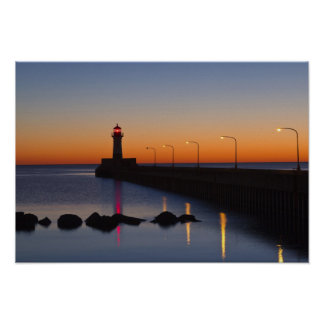 North pier Lighthouse in Duluth, Minnesota, Poster