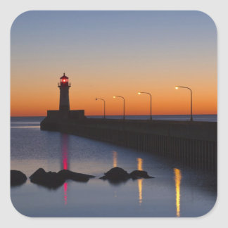 North pier Lighthouse in Duluth, Minnesota, Square Sticker